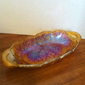 Other - Carnival Glass Candy Dish with Handles